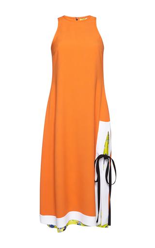 Medium msgm orange color block orange tie dress