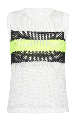 Medium msgm white stripe mesh top