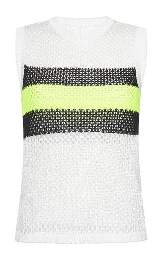 Medium msgm white stripe mesh top