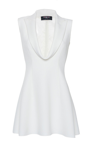 Medium paule ka white cady front draped lapel detail long blouse