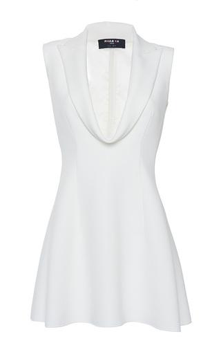 Medium paule ka white cady front draped lapel detail long blouse
