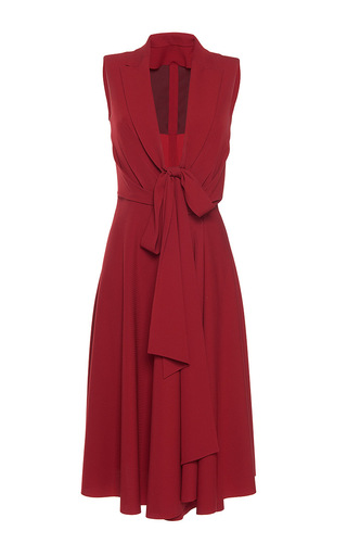 Medium paule ka red gabardine a line fluid lapel v neck dress with tie