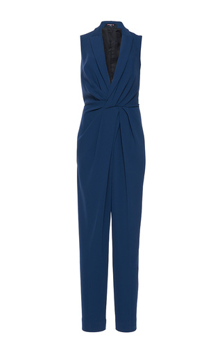 Medium paule ka blue gabardine fluid sleeveless gathered tuxedo jumpsuit