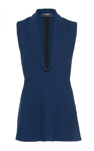 Medium paule ka blue cady front draped lapel detail long blouse 2
