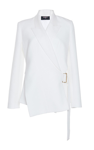 Medium paule ka white gabardine fluide asymmetrical wrap jacket
