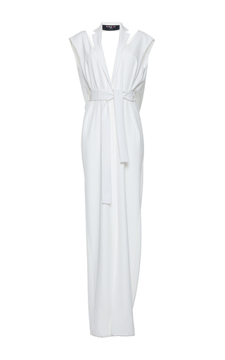 Medium paule ka white gabardine fluide tuxedo lapel draped back gown