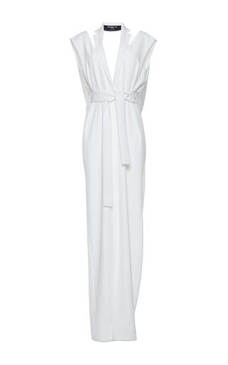 Medium paule ka white gabardine fluide tuxedo lapel draped back gown