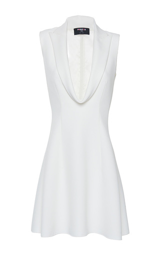 Medium paule ka white cady front draped lapel a line dress