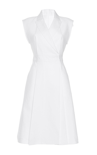 Medium paule ka white bonded cotton a line structured dress with pockets