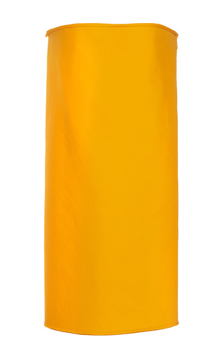 Medium paule ka yellow bonded cotton strapless tube dress with built in corset