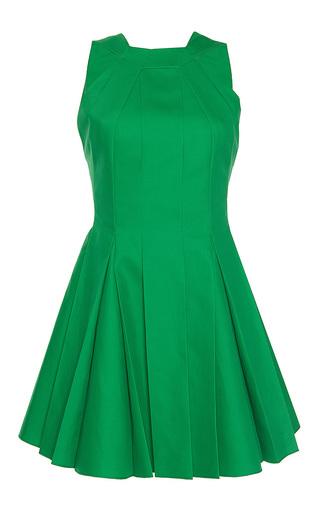 Medium paule ka green bonded cotton sleeveless pleated flared halter dress