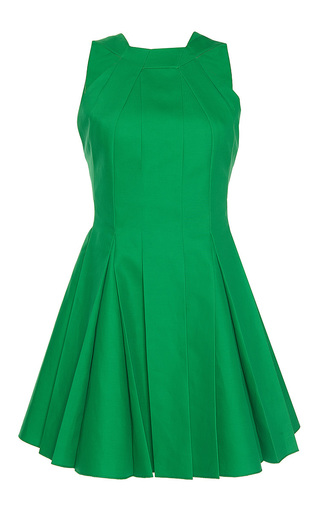 Medium paule ka green bonded cotton sleeveless pleated flared halter dress