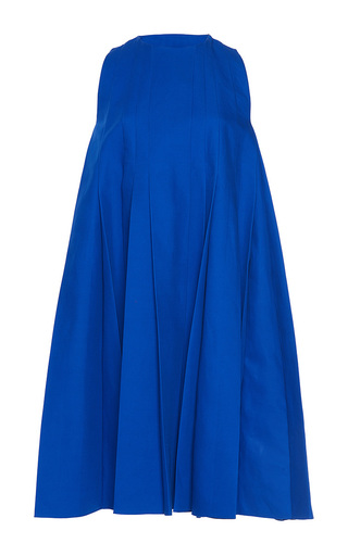Medium paule ka royal blue bonded cotton sleeveless pleated flared a line dress