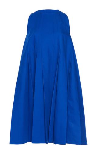 Medium paule ka royal blue bonded cotton sleeveless pleated flared a line dress