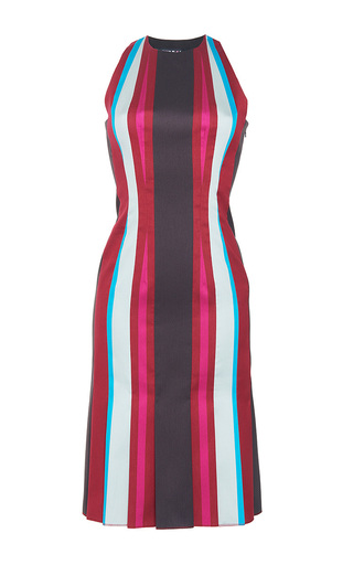 Medium paule ka stripe striped paneled jacquard halter trumpet dress