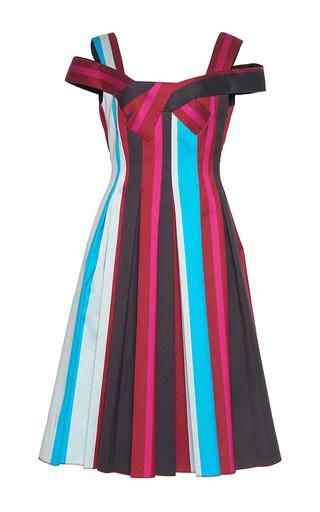 Medium paule ka stripe striped paneled jacquard cold shoulder a line dress