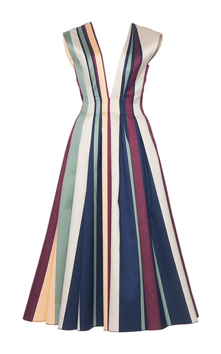 Medium paule ka stripe striped paneled jacquard deep v neck a line dress