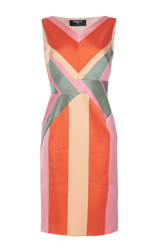 Medium paule ka multi striped paneled jacquard sleeveless sheath dress
