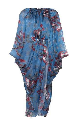 Medium paule ka print japanese floral printed draped silk dress with tie