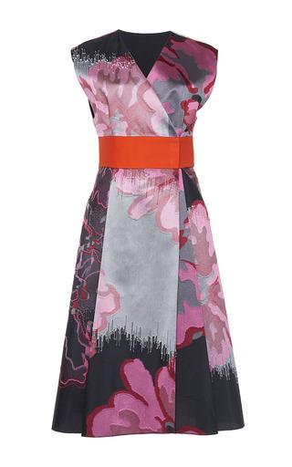 Medium paule ka print japanese floral jacquard kimono dress with encrusted back bow