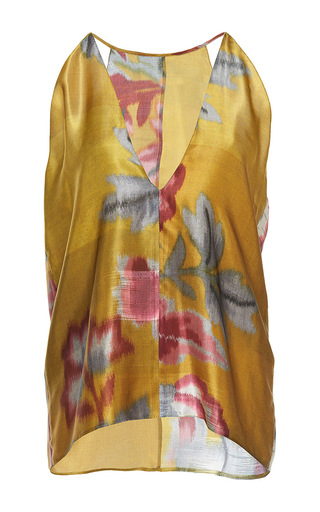 Medium paule ka print japanese floral printed silk v neck camisole