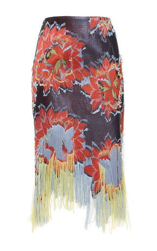 Medium paule ka print jacquard fil coupe fringed skirt