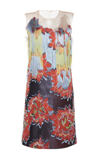 Medium paule ka print jacquard fil coupe fringed dress with organza accent