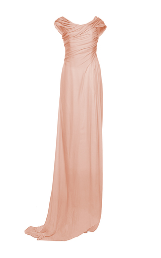 Medium paule ka pink silk charmeuse off the shoulder gown