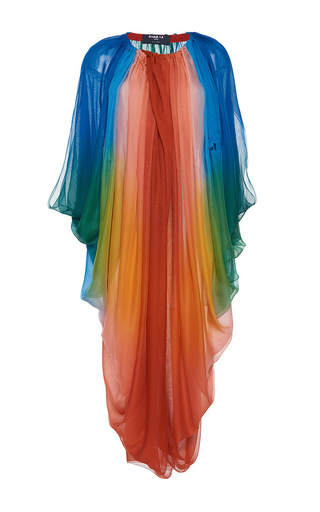 Medium paule ka multi silk ombre draped dress with tie