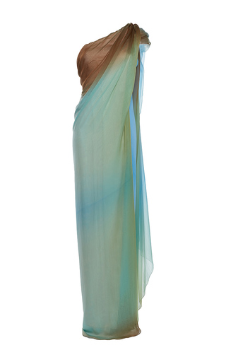 Medium paule ka multi silk ombre one shoulder draped gown
