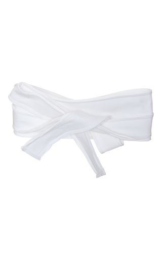 Medium paule ka white bonded cotton wrap obi belt
