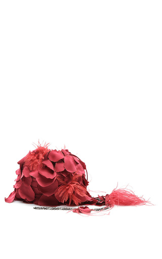 Medium paule ka red satin fluid petal purse