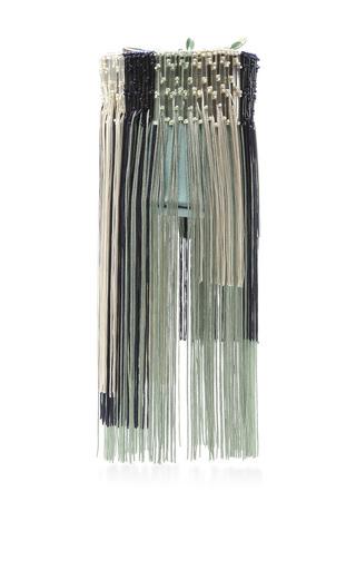 Medium paule ka turquoise satin fringe colorblock purse