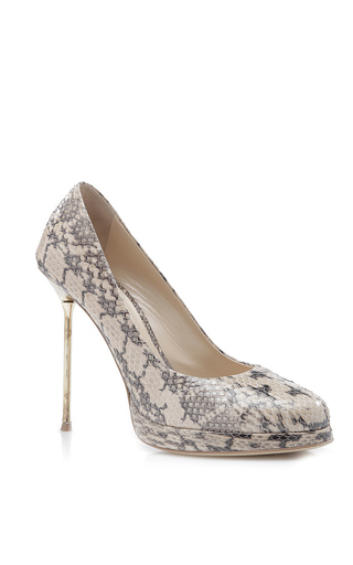 Medium paule ka nude snakeskin closed toe pump