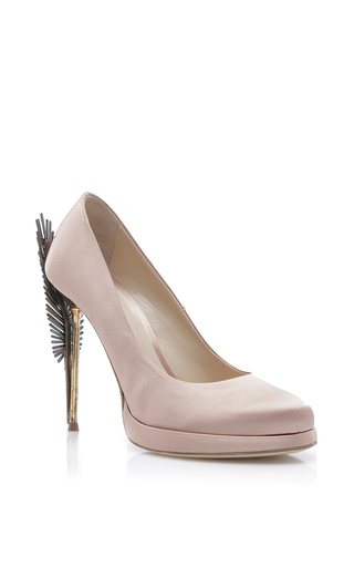 Medium paule ka nude satin closed toe pump with feather metal heel
