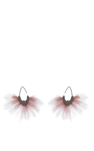 Medium paule ka pink metallic feather hoop earring