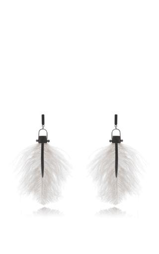 Medium paule ka nude feather drop earrinng