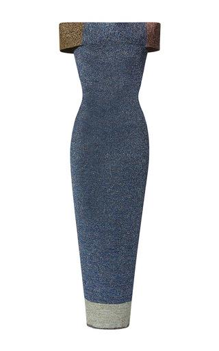 Medium christopher kane blue metallic patchwork off the shoulder dress