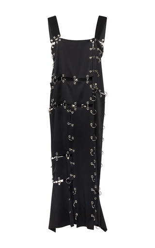 Medium christopher kane black metal ring cady dress