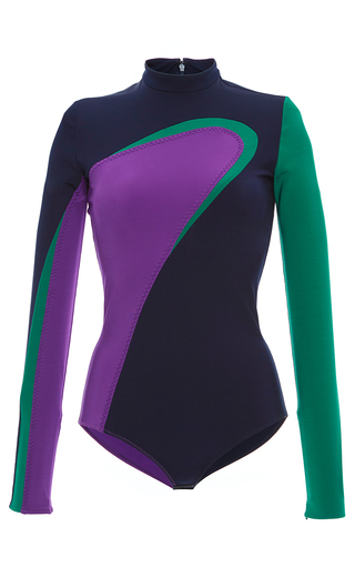 Medium versace multi color block long sleeve bodysuit