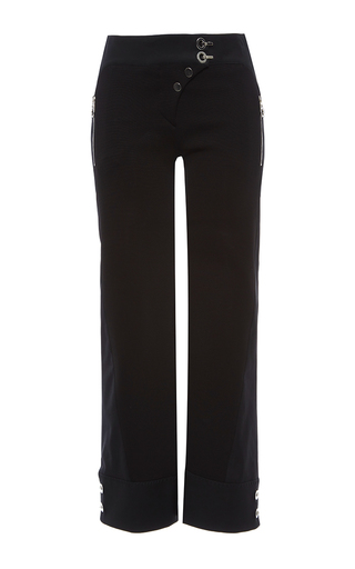 Medium versace black cropped cuff detail pants