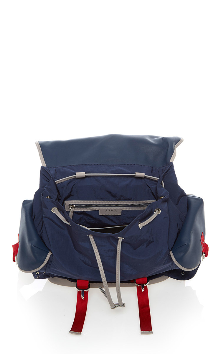 2e7764bcff VersaceNylon and Leather Backpack. CLOSE. Loading. Loading. Loading. Loading