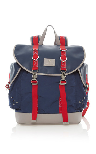 Medium versace blue nylon and leather backpack