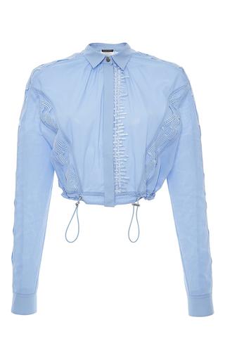 Medium versace light blue embroidered long sleeve cropped shirt