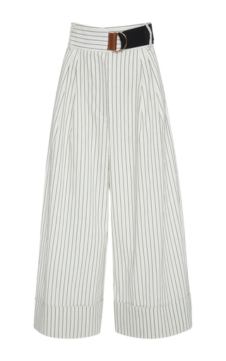 Medium tibi stripe cecil pinstripe cropped wide leg trousers