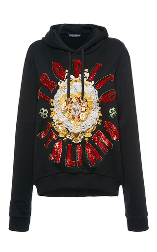 Medium dolce gabbana black beaded detail hooded sweatshirt