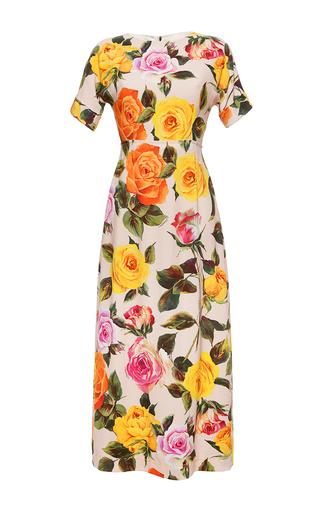 Medium dolce gabbana print garden rose short sleeve cady dress