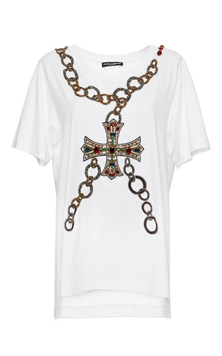 Medium dolce gabbana white beaded cross and chain patch tee