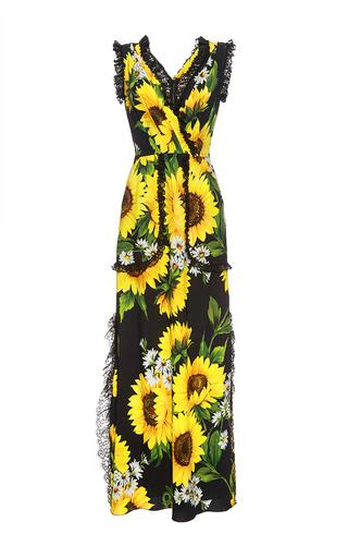 Medium dolce gabbana print sunflower lace detail maxi dress