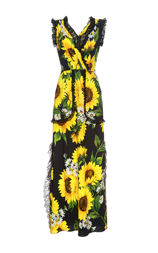 Medium dolce gabbana print sunflower lace detail maxi dress